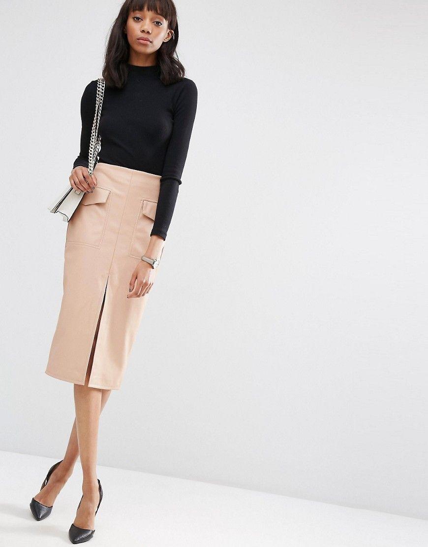 a278fb669e PU Pencil Skirt with Pockets and Front Split | a la parissiene ...