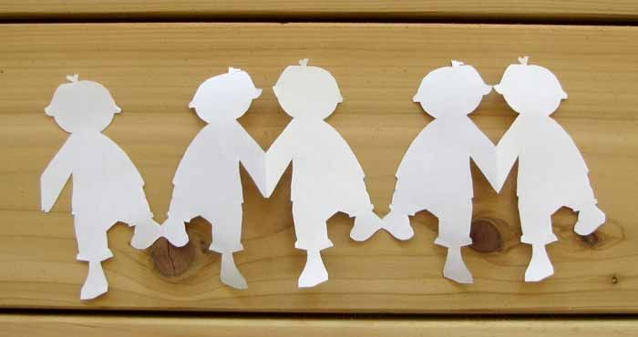 A variety of paper chain templates  paper dolls