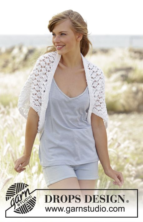 Always Cute - Knitted DROPS shoulder piece with lace pattern in ...