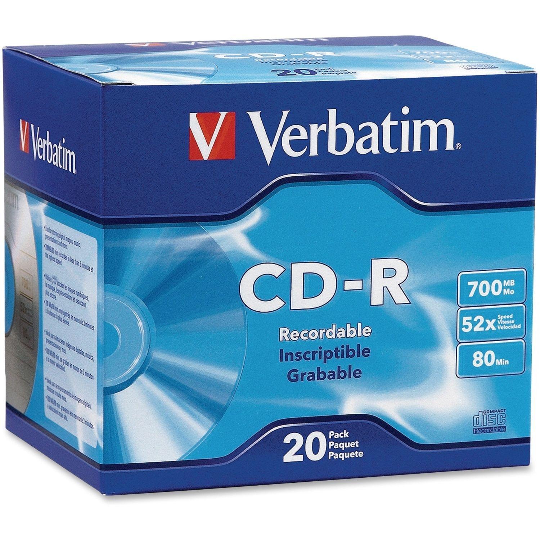 Verbatim dvd rw 4 7gb 4x with branded surface 30pk spindle 4 7gb - Verbatim Cd R 700mb 52x With Branded Surface 20pk Slim Case