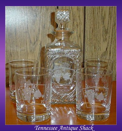 Blackjack whiskey decanter set for sale at Tennessee Antique Shack.  $65.00