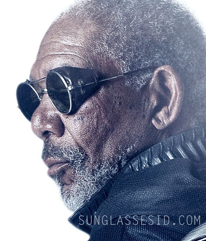 4c84640cf9 Morgan Freeman wearing the round sunglasses with leather side shields on  the Oblivion movie poster