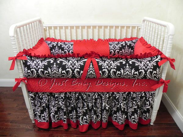Pin On Kensie Rea, Red And Black Damask Crib Bedding