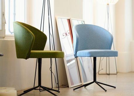 Chaise De Bureau Salle D Attente En Acier Et Polyester Marron Gris Noir Bleu Vert Ou Taupe Mila Par Jankurtz Chaise Bureau Chaise Design Chaise