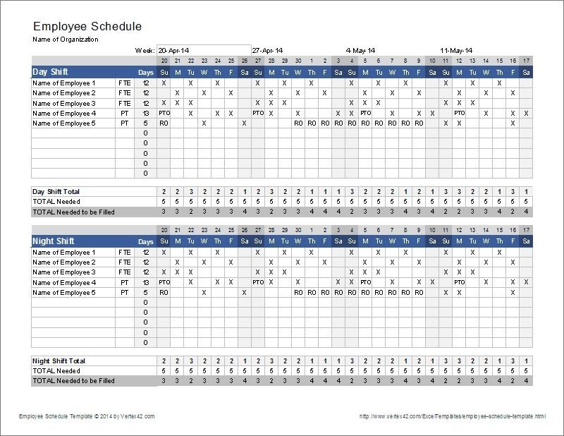 Employee Schedule Template Shift Scheduler With 3 Shift Schedule