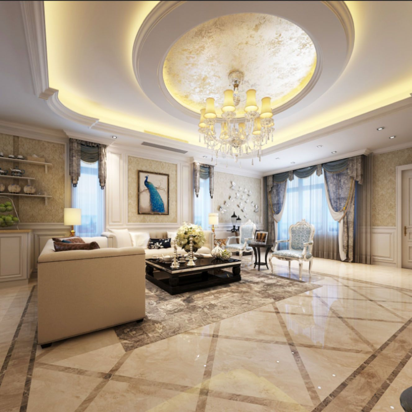Modern Interior Decoration Living Rooms Ceiling Designs: Jane European Round Ceiling Living Room Design