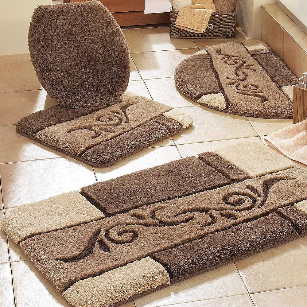 Contemporary Bathroom With Brown Bathroom Rug Sets, And