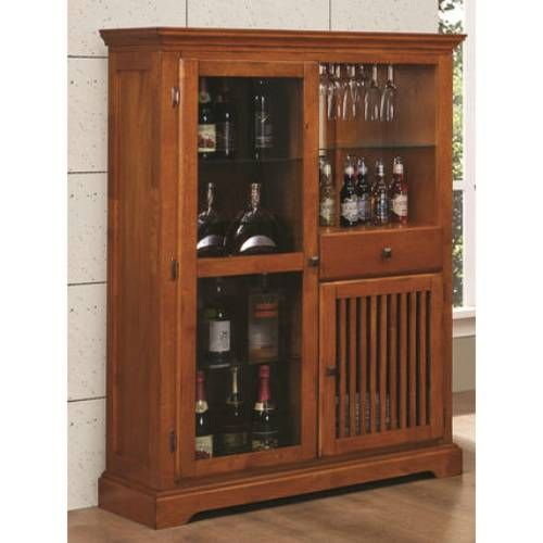 Coaster Furniture 100625 Marbrisa Mission Style Bar Cabinet In Medium Brown
