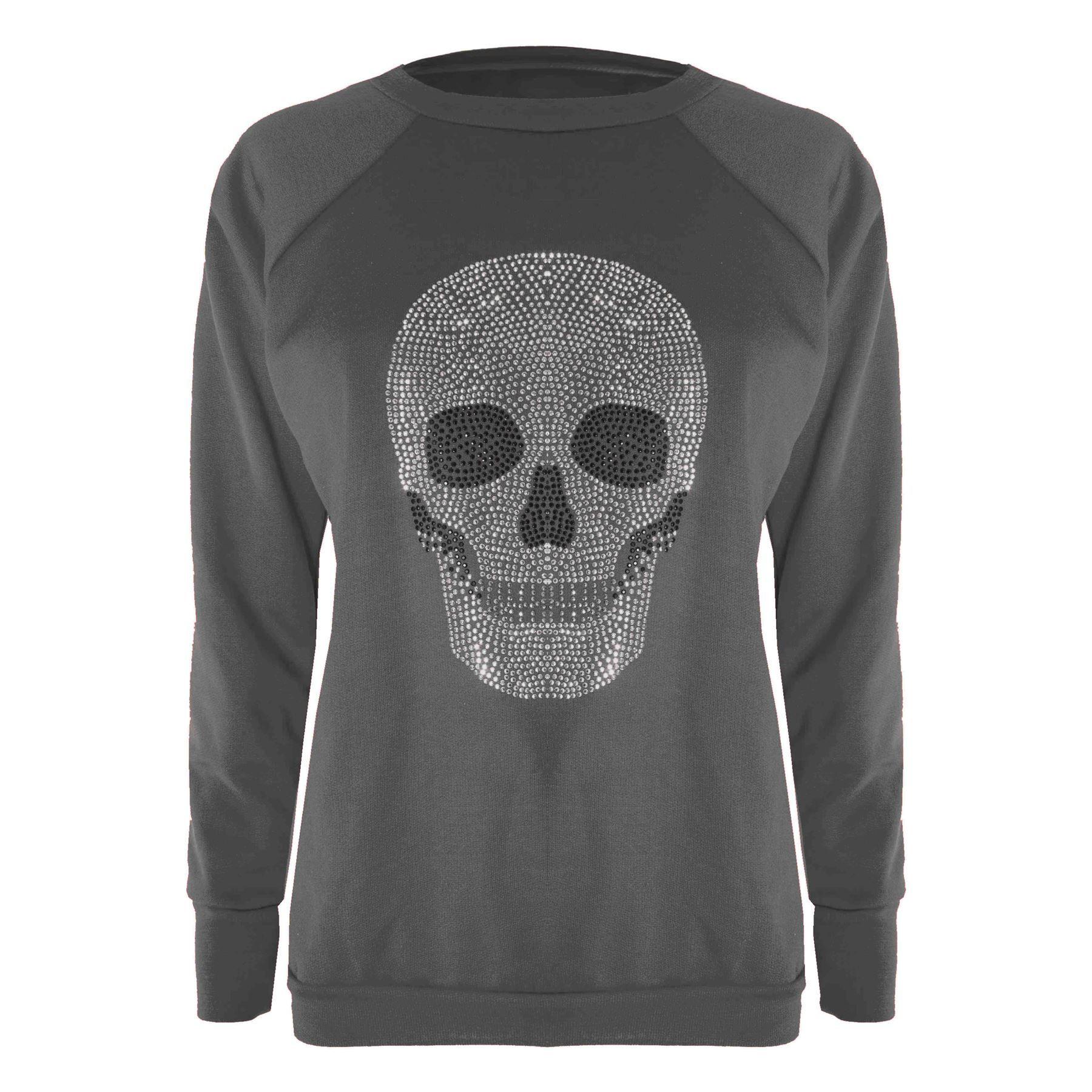 a865d1e8074d Ladies Womens Casual Skull Studded Long Sleeve Cross Peace Sweatshirt  Jumper#Skull#Studded#