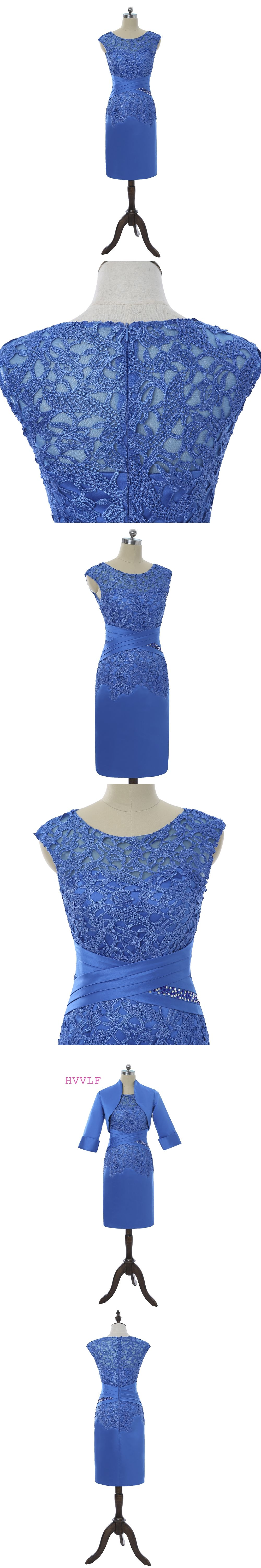 Mother bride dresses summer garden wedding  Royal Blue  Mother Of The Bride Dresses Sheath Cap Sleeves Lace