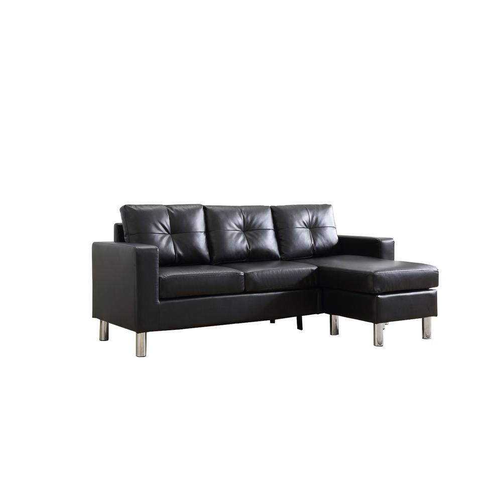Black Small Space Convertible Sectional Sofa 73030 40bk