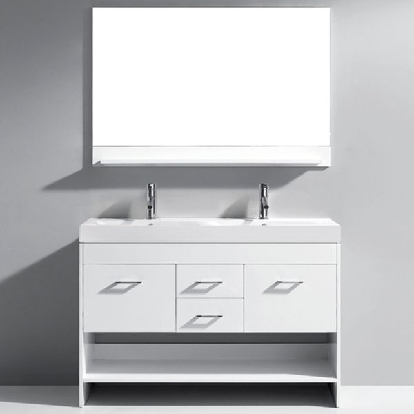 Virtu Gloria 48-inch White Double Sink Bathroom Vanity Set ... on 48 inch double sink faucet, 48 glass vanity, 48 inch 2 sink vanity, 48 inch vanity combo, dual sink vanity, 48 inch modern bathroom vanity, 18 double sink vanity, 48 inch vanity sets, 48 inch white vanity, 48 inch bathtub home depot, 48 inch double vessel sink,