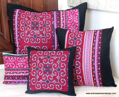 "Beautiful old style Hmong embroidery.    There are 4 different sizes available to mix and match.    XXL 30""/76 cm square floor pillow  20""/50.8 cm square pillow  16""/40.6 cm throw pillow  12"" x 20'/30.5 cm x 50.8 cm rectangular lumbar pillow"