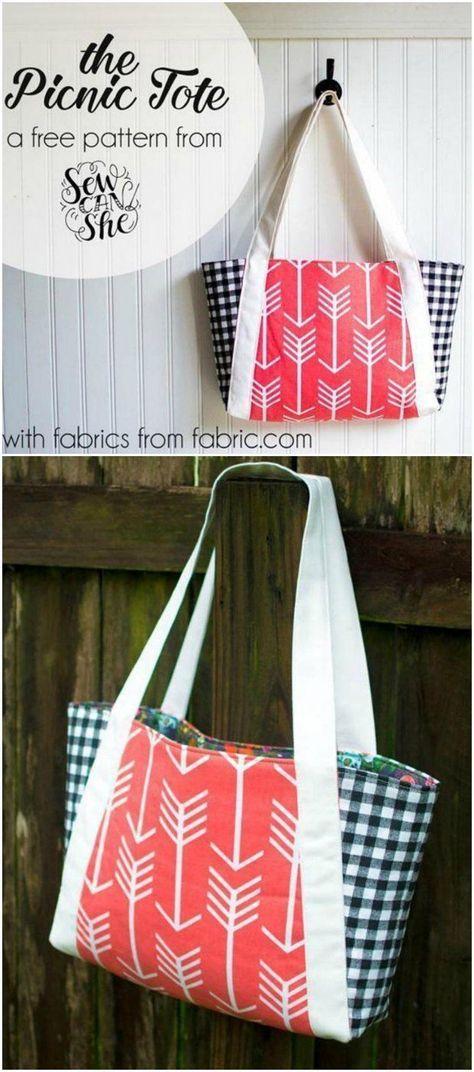 Picnic Tote Bag - free | Bag sewing patterns, Tote bag and Picnics