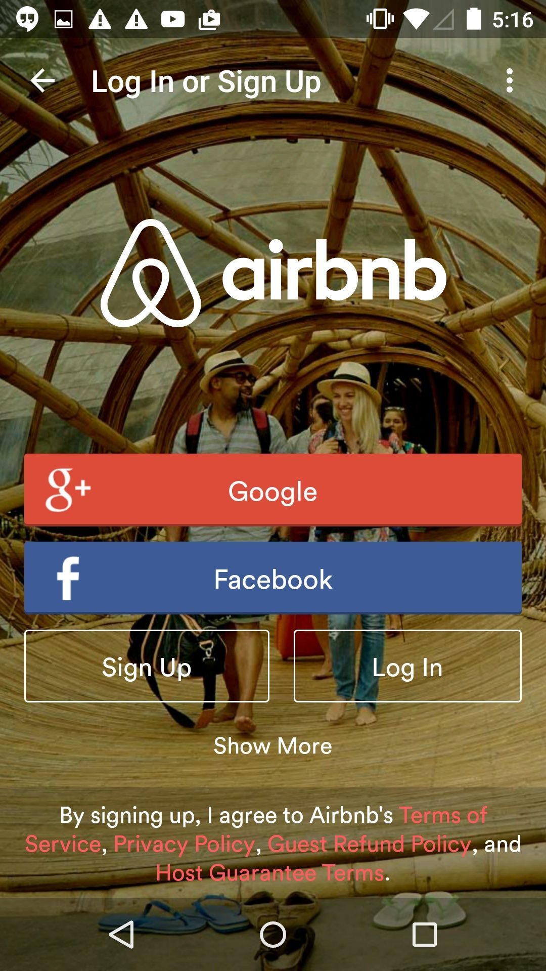 Airbnb Sign Up and Log In. Pretty obvious the choices you ...