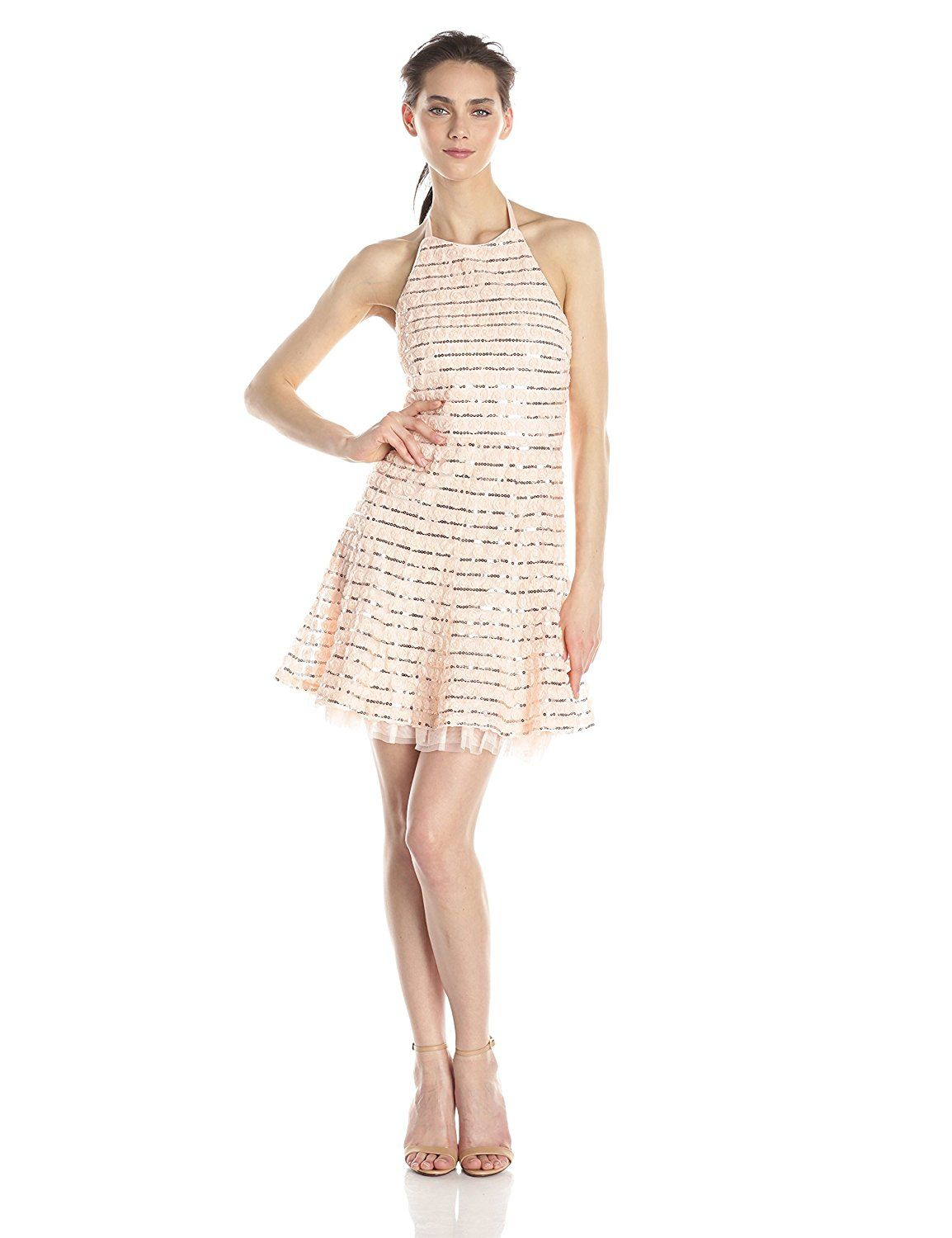 Jessica Simpson Women's Rosette Halter Dress with Sequin Trim >>> See this great image  : formal dresses