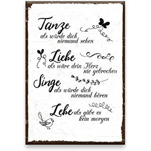 holzschild mit spruch tanze liebe singe lebe shabby chic retro vintage nostalgie deko. Black Bedroom Furniture Sets. Home Design Ideas