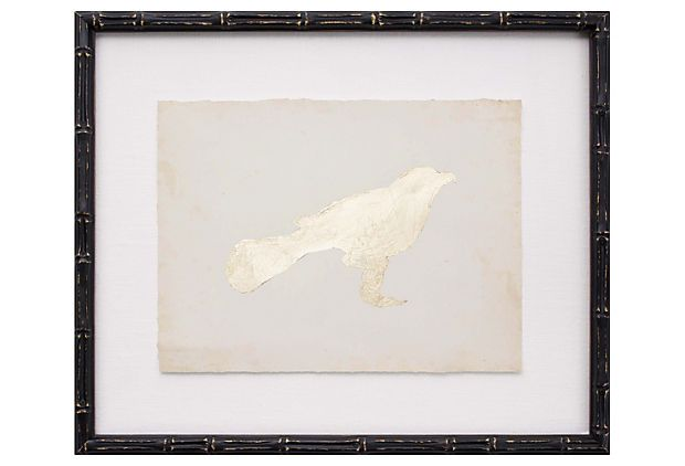 Gold Leaf Bird II 17x17, on linen with wood frame. one of a pair ...
