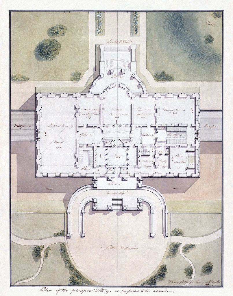 White House Plan Site Plan By Benjamin Latrobe 1807 House Floor Plans Latrobe White House Plans