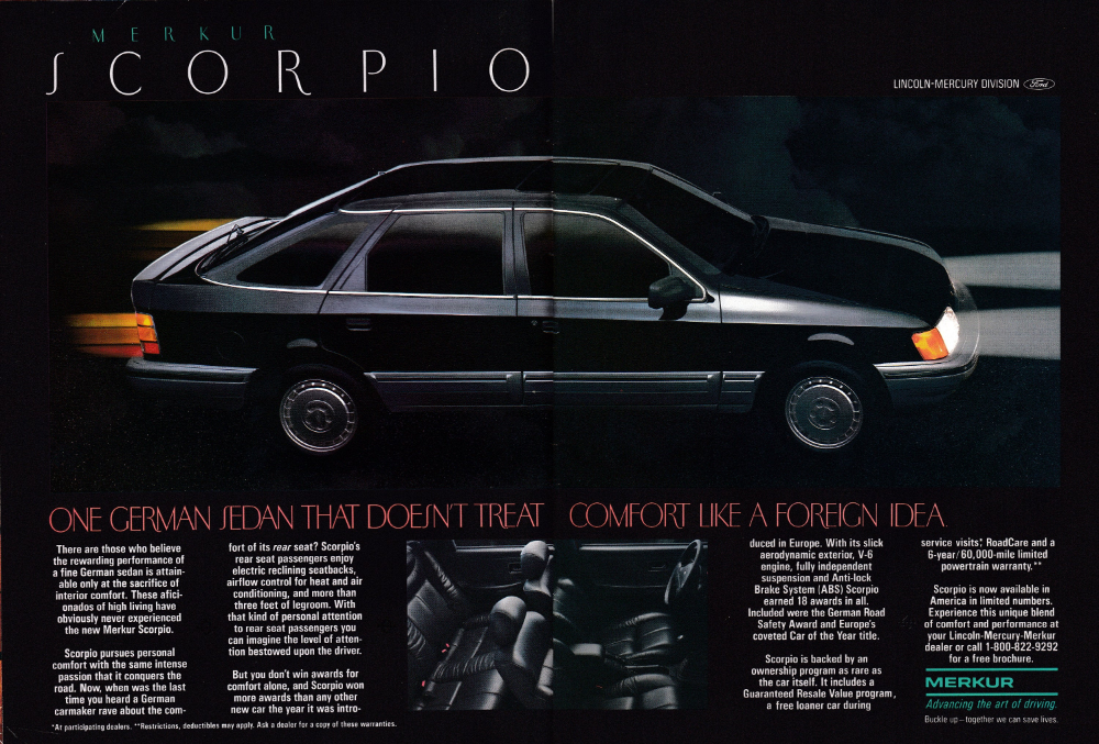 1987 Mercury Merkur Scorpio Planned For The Future Original 2 Page