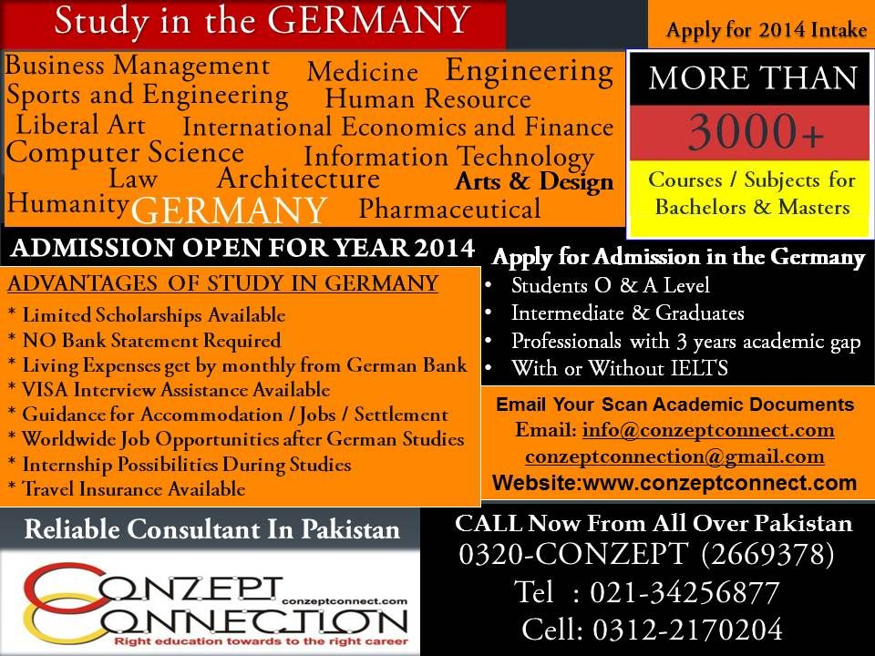 Study in Germany Apply for 2014 Admission Intake