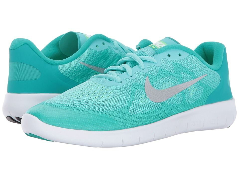 ad1bf729c3213 Nike Kids Free RN 2017 (Big Kid) Girls Shoes Aurora Green Metallic  Silver Clear Jade