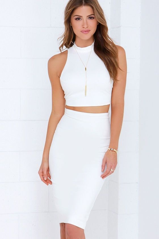 All in the Details Ivory Bodycon Two-Piece Dress | Ivory