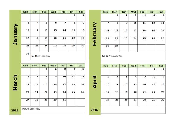 2016 Four Monthly Calendar Template Organizing Pinterest