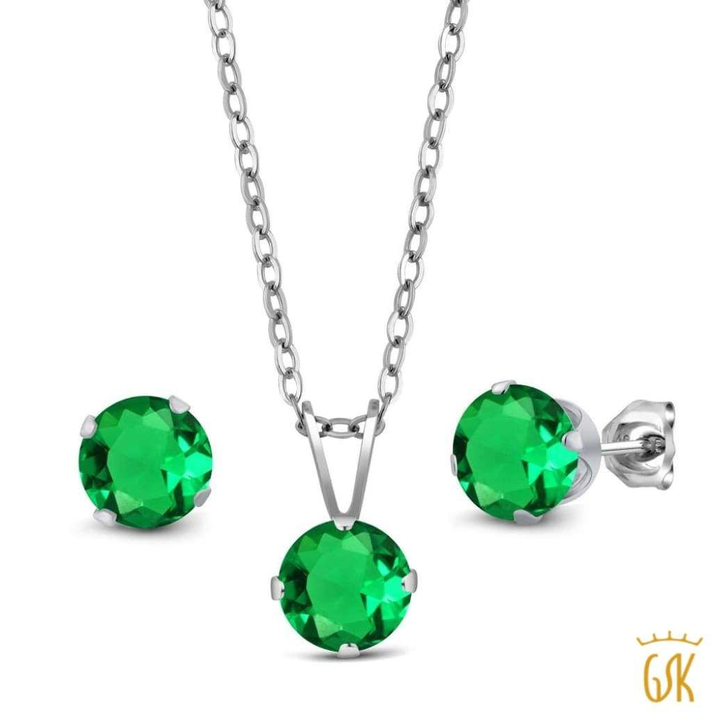 ct green simulated emerald sterling silver pendant earrings