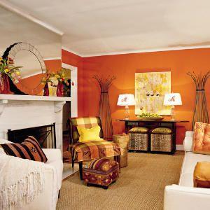 tangerine orange living room | salotti arancio, soggiorno