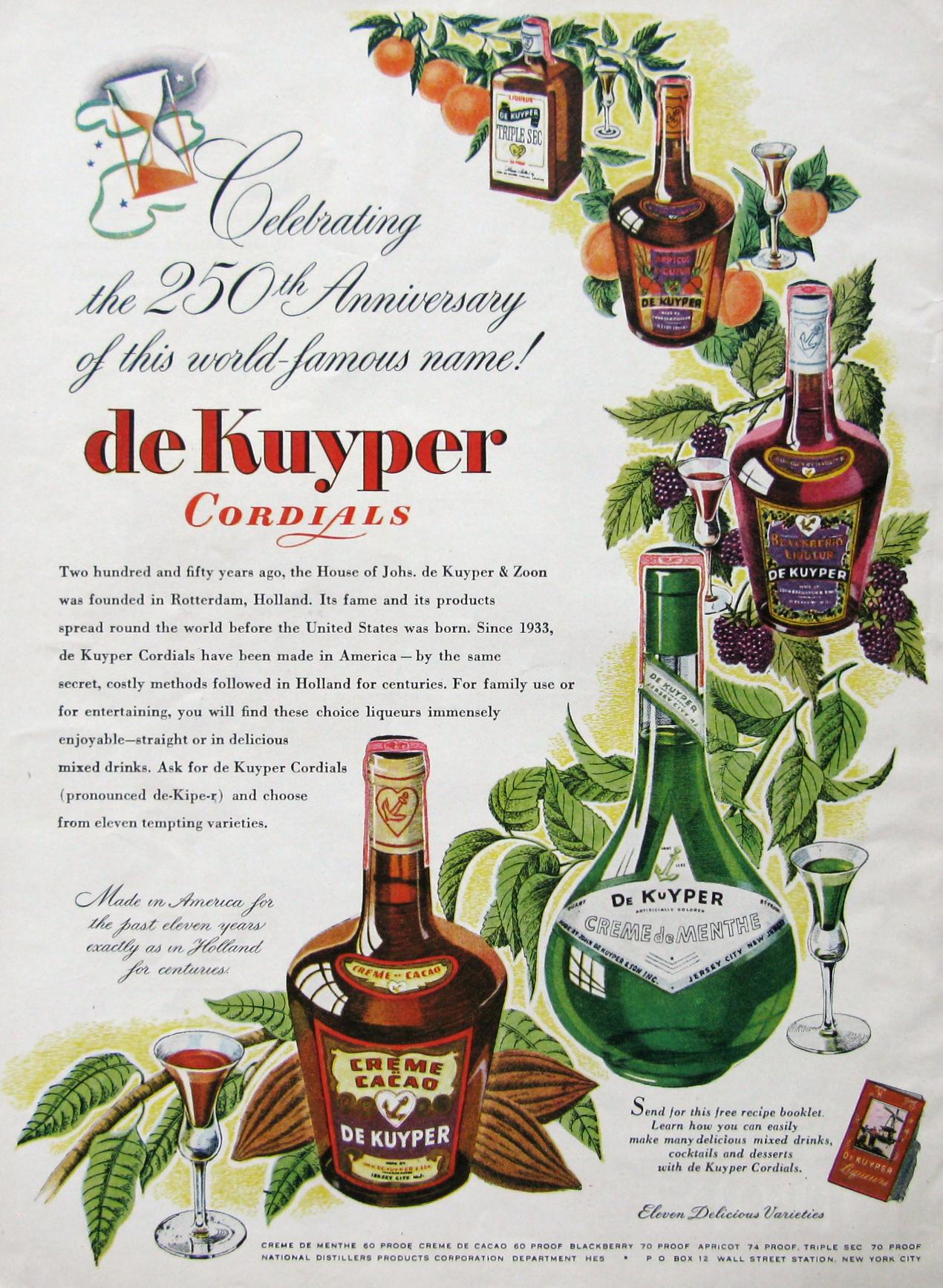 deKuyper Cordials ad 1945 from #RetroReveries