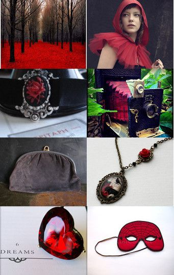 "--Pinned with TreasuryPin.com, Curated by LaDonna Arcona of RusticBabyBoutique. ""Red October"". ♛ Wow... There are no words for how lovely and atmospheric this incredible treasury is... just utterly gorgeous. And thanks so much for featuring my Scarlet 'I Heart Bling' Statement Ring... it looks perfect among all the vintage reds, and pops of color. Amazing treasury, LaDonna!   (¯`v´¯) .`•.¸.•´  ¸.•´.•´¨) ¸.•¨) (¸.•´(¸.•´ (¸.•¨¯`*♥FABULOUS!"