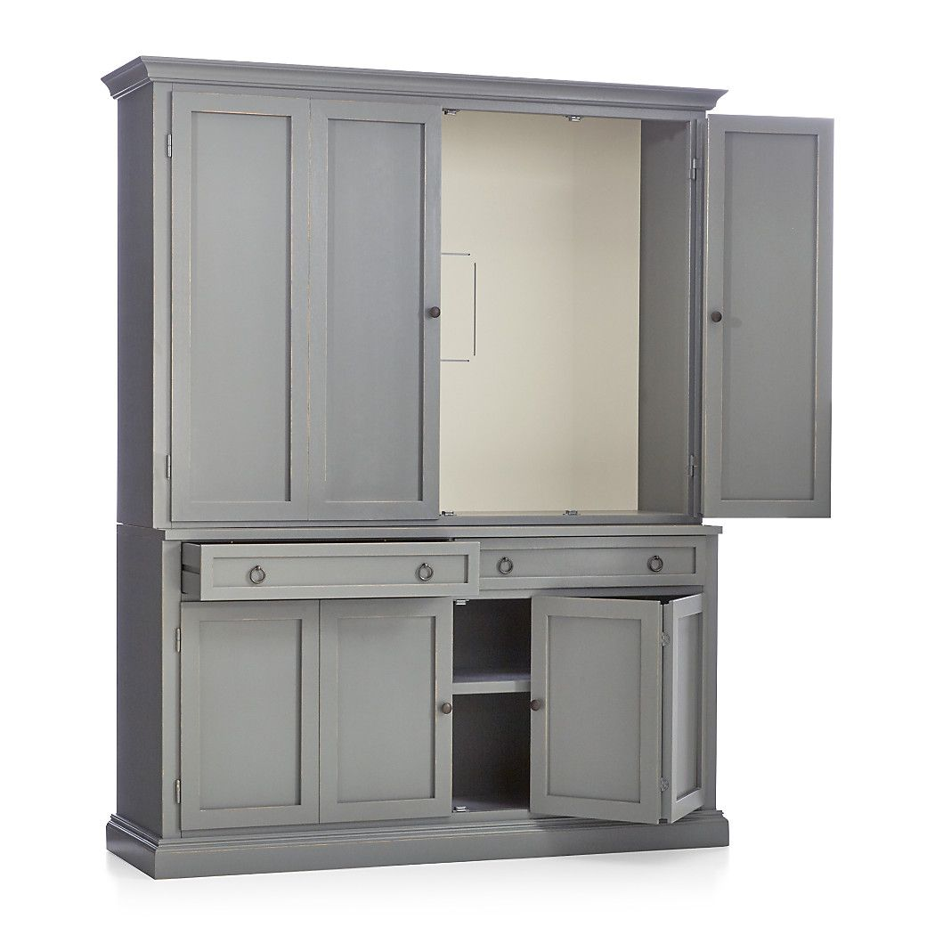 Shop cameo 2 piece grey entertainment center this modular tv stand with double bi fold doors and two storage drawers supports the media tv hutch with crown