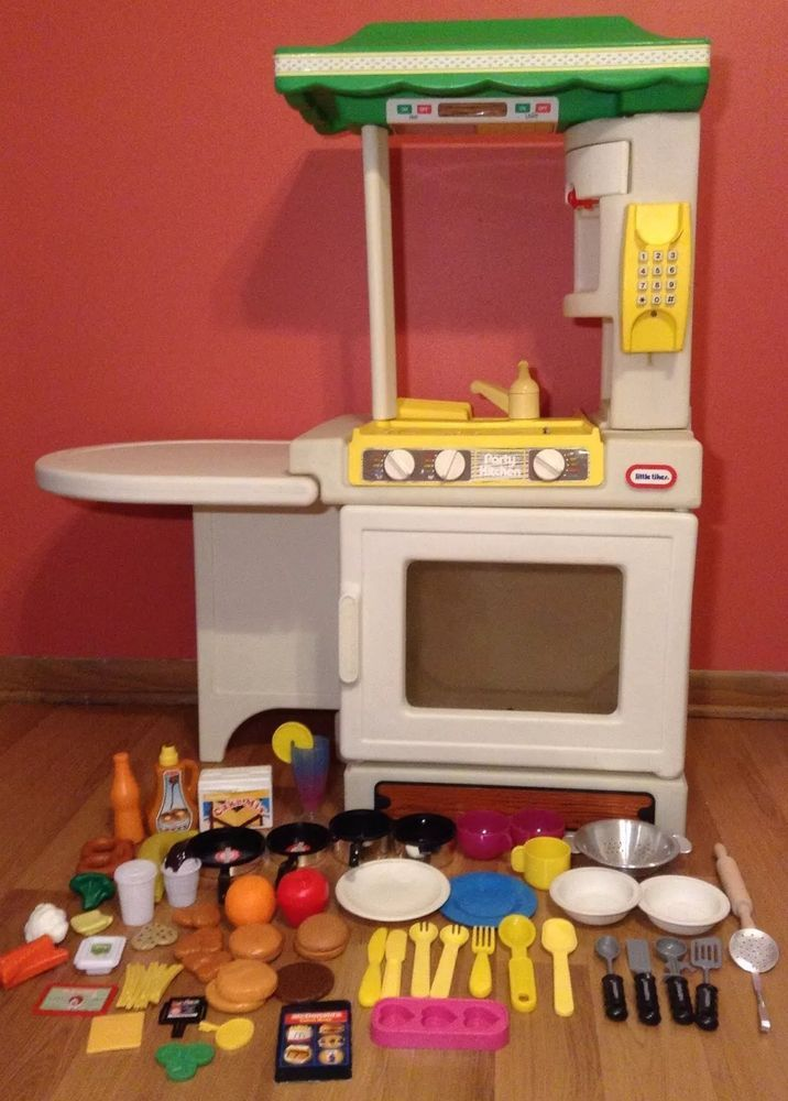 VINTAGE Little Tikes CHILD SIZE Party KITCHEN Set Island FOOD Sink Stove  Table #LittleTikes