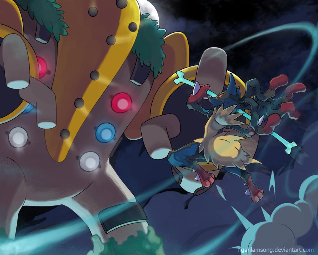 Assault on Titan! by nganlamsong.deviantart.com on @deviantART (Regigigas vs. Mega Lucario)