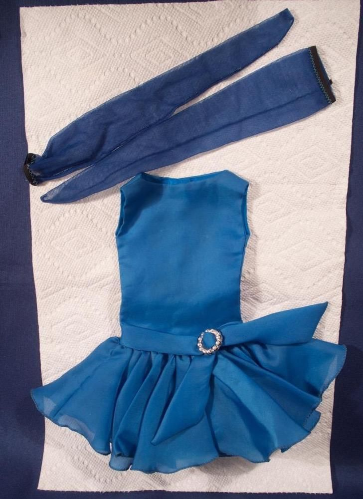 """Vintage HALINA'S DOLL FASHIONS CHICAGO Blue Dress w Stockings for 21"""" Alexander"""