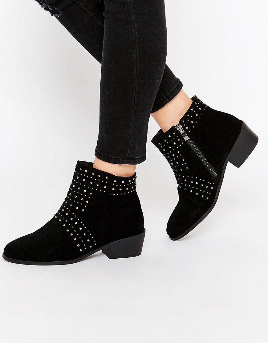 ee151fce6f2 boohoo Daisy Street Black Studded Ankle Boots | shoes | Studded ...