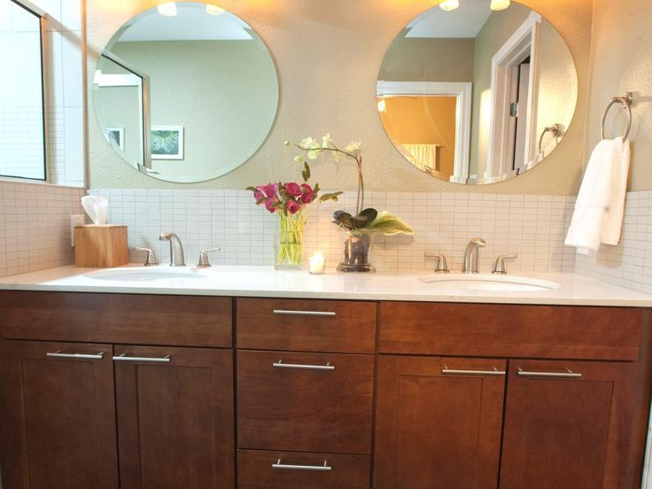 Double Vanity With Two Round Mirrors Round Mirror Bathroom