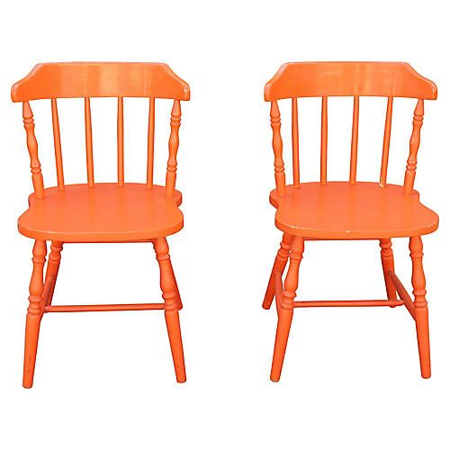 Astonishing American Orange Side Chairs Pair Painting Furniture Andrewgaddart Wooden Chair Designs For Living Room Andrewgaddartcom