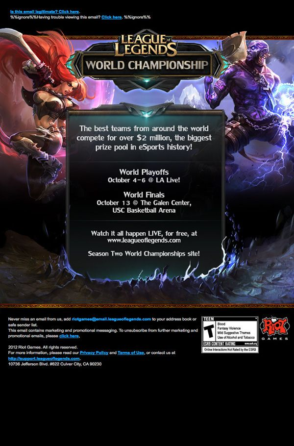 Riot Games Email Design on Behance   Graphic Web Designs   Email