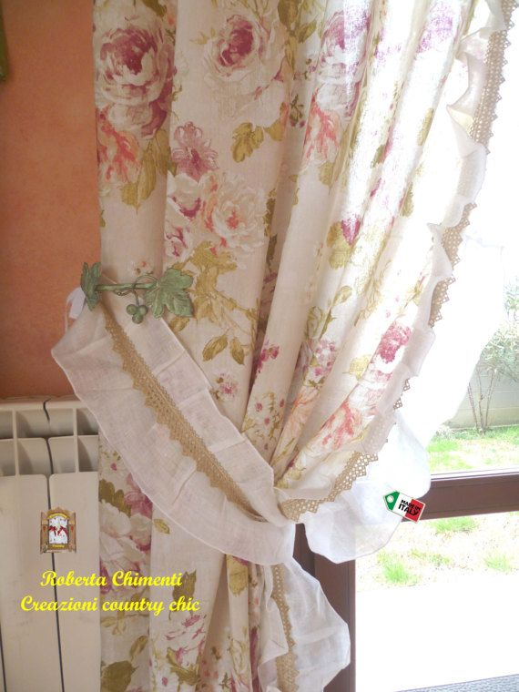 Country-chic two panels curtain, shabby-chic, curtain with linen ...