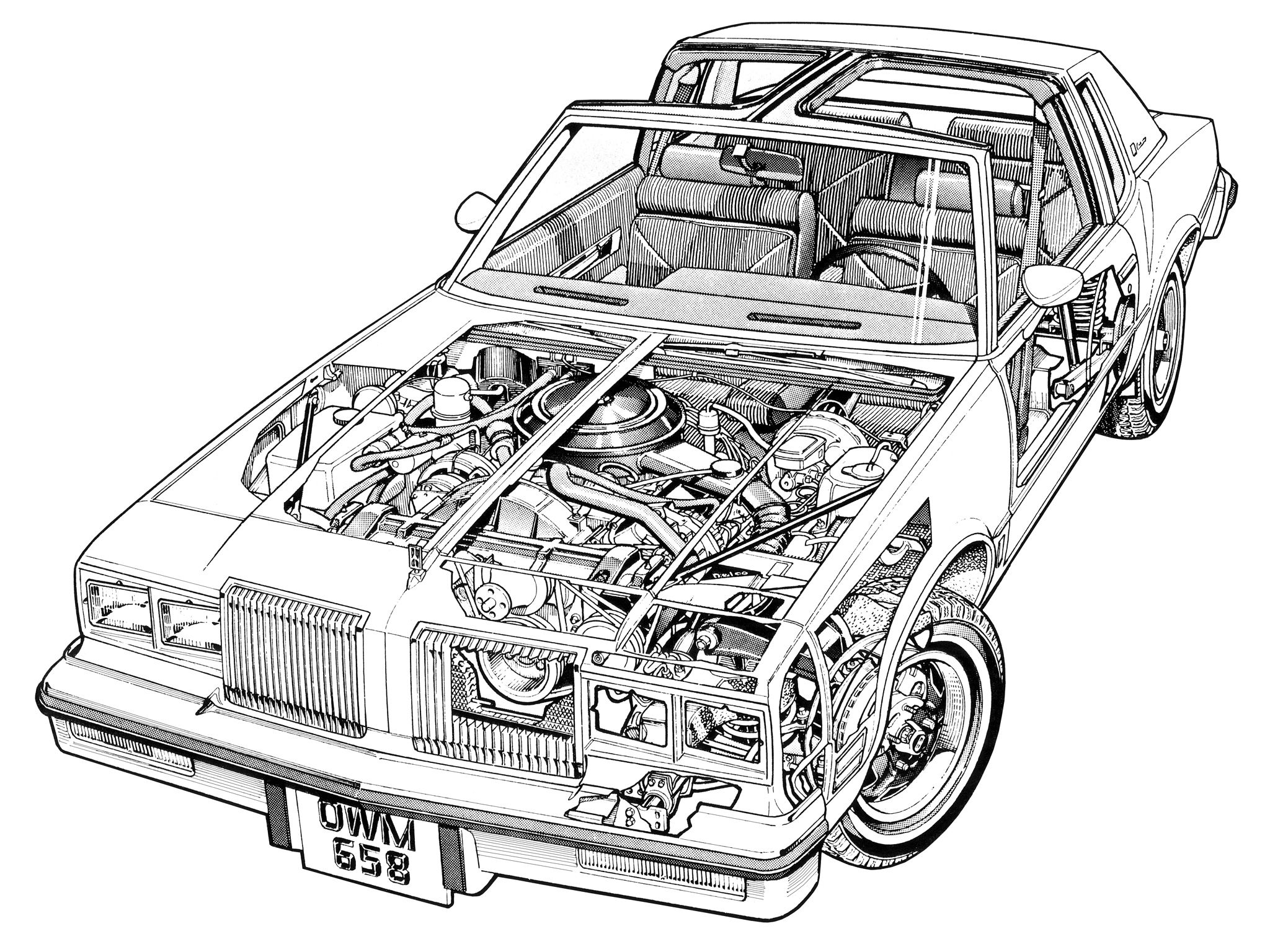 oldsmobile cutlass t-top - illustrated by terry davey