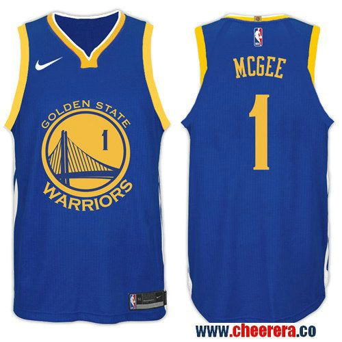 Nike NBA Golden State Warriors  1 JaVale McGee Jersey 2017-18 New Season  Blue Jersey da80f7c412e0