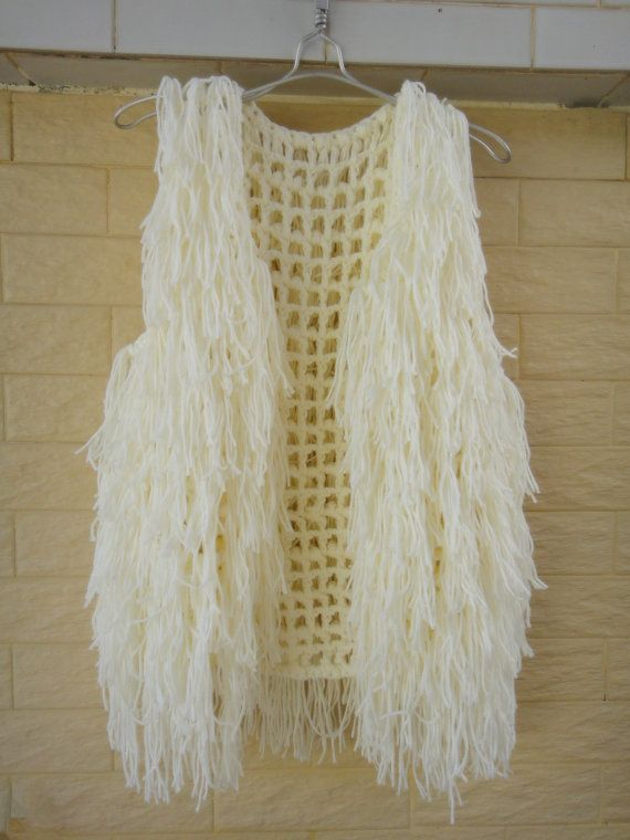 Ivory Hippie Fringe Vest Crochet Sweater Sleeveless Cardigan ...