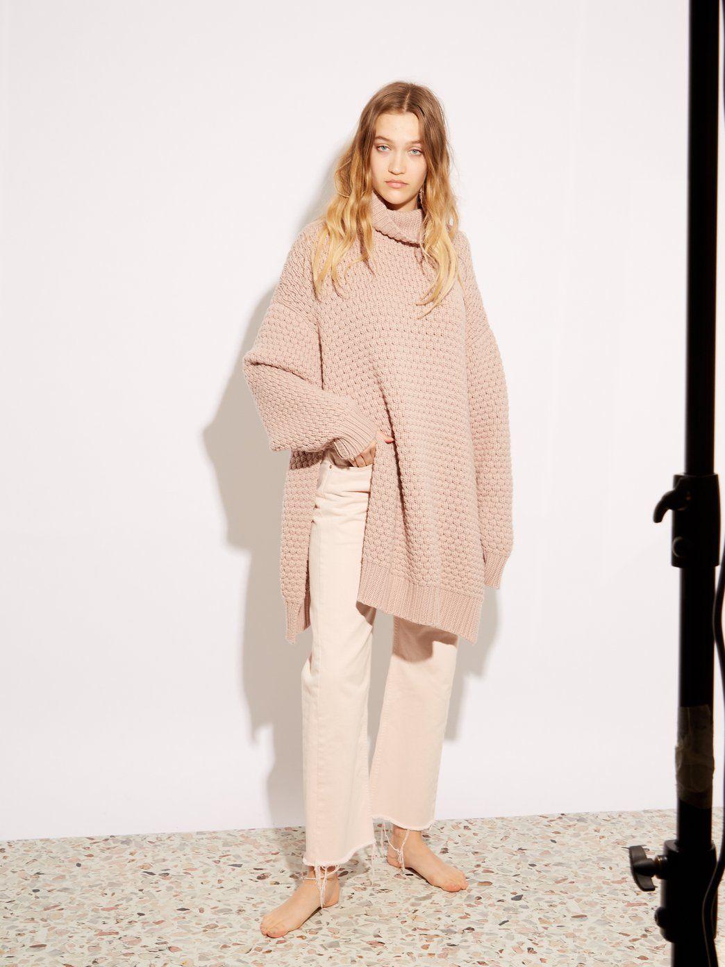 0fcdadfde Split-side roll-neck bubble-knit cashmere sweater