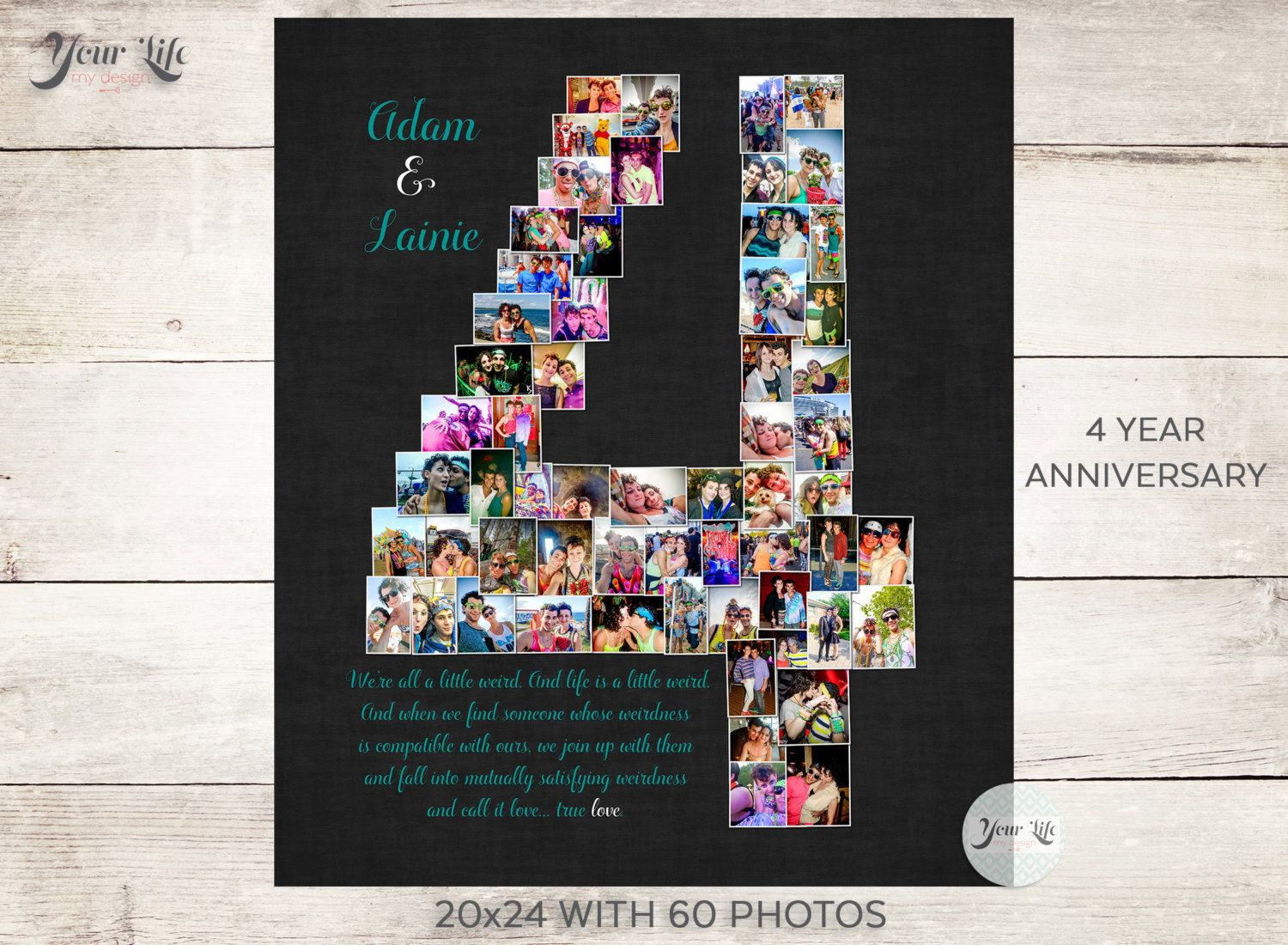 4 Year Anniversary 4th Anniversary Gift Photo Collage 4th Etsy 4th Year Anniversary Gifts 4th Anniversary Gifts Year Anniversary Gifts