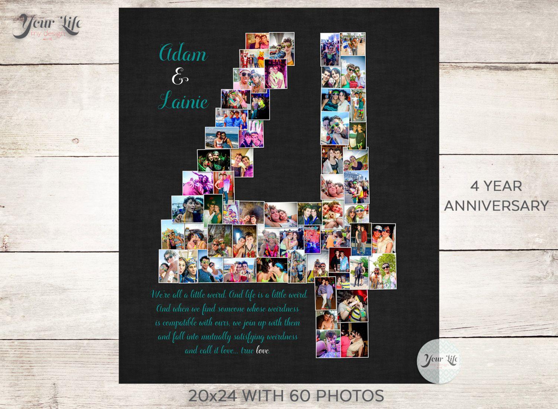 4 YEAR ANNIVERSARY, 4th Anniversary Gift Photo Collage