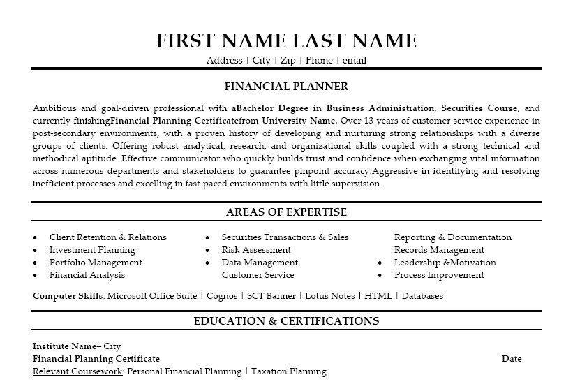 Click Here To Download This Financial Planner Resume Template