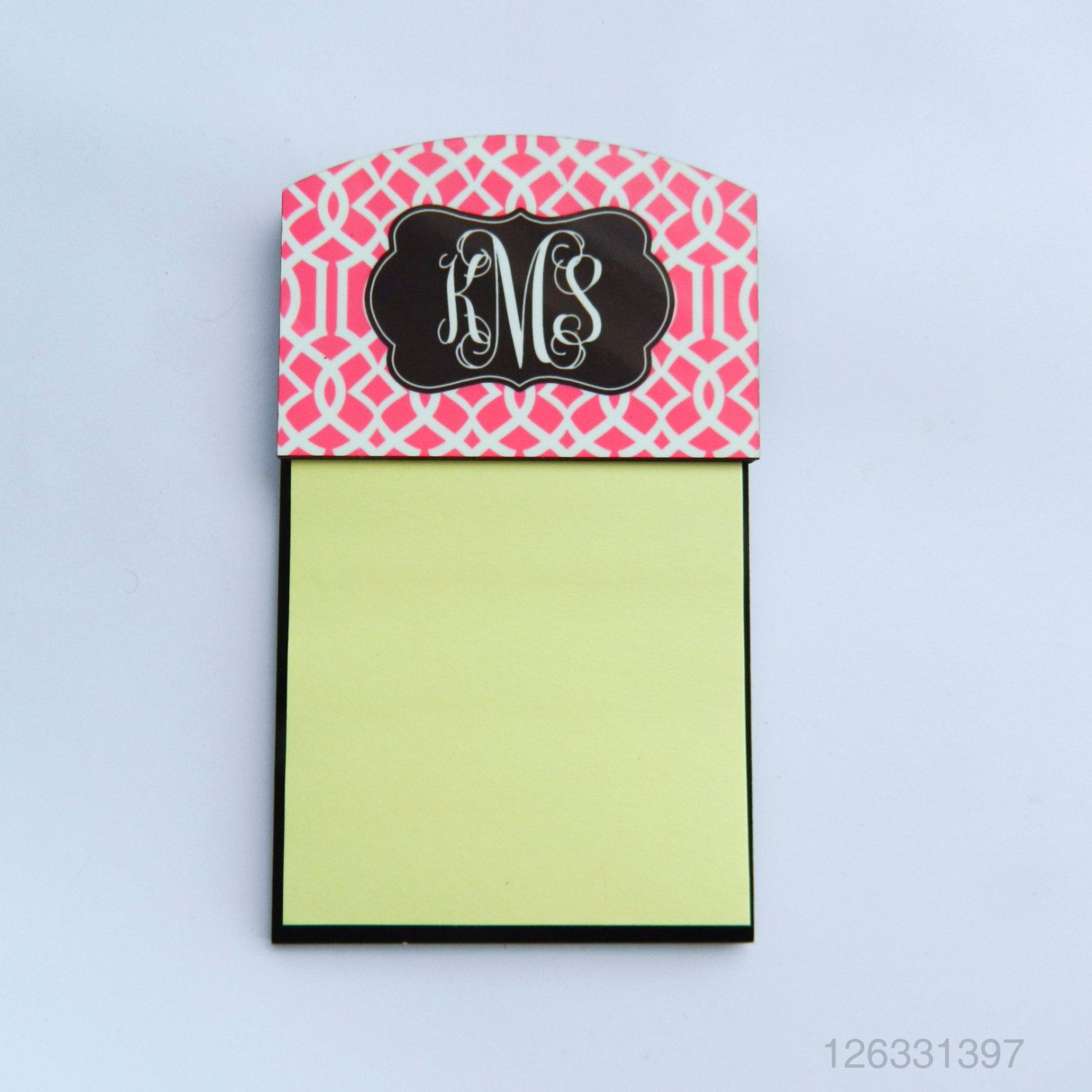 Monogram Sticky Note Holder Personalized Repostitionable Etsy Custom Sticky Notes Personalized Sticky Notes Sticky Notes Post it note holder template