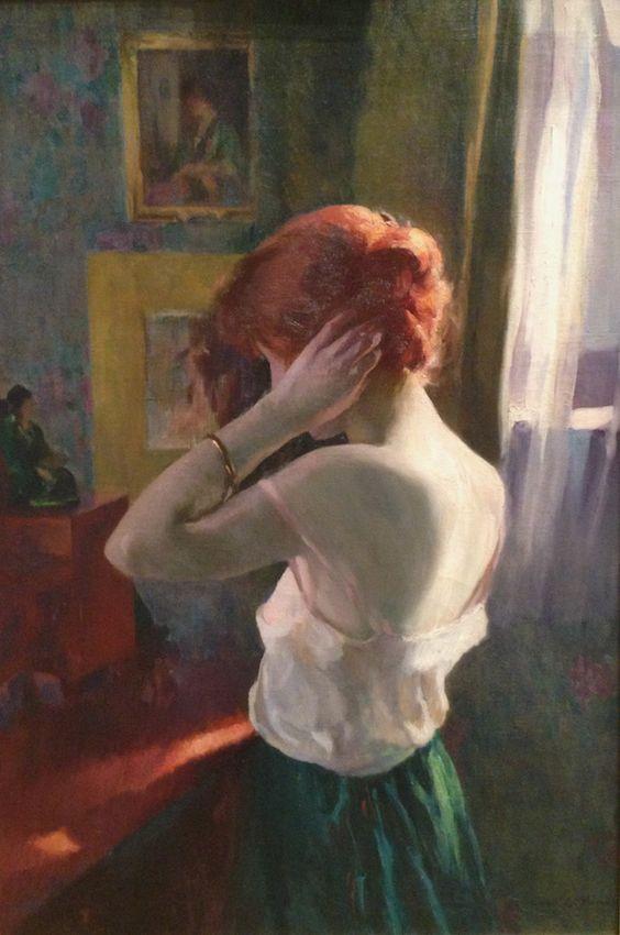 Red Headed Woman Ivan Olinsky 1918 Florence Griswold Museum Nedelya Ryzhih Nepravilnyj Glagol Redhead Art American Art Illustration Art